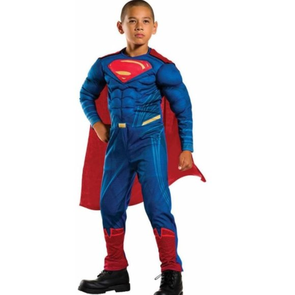 Boys SUPERMAN w Cape Muscle Costume MED 8/10 NWT